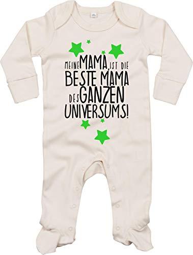 Kleckerliese Baby Schlafanzug Schlafstrampler Sprüche Einteiler Jungen Mädchen Sleepsuit mit Aufdruck Motiv Meine Mama ist die Beste Mama des ganzen Universums!, Natural 0-3 Monate