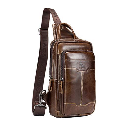 Hebetag mochila vintage de cuero para hombres bolsa de hombro cruzada pecho bolsas al aire libre senderismo Moda Daypacks