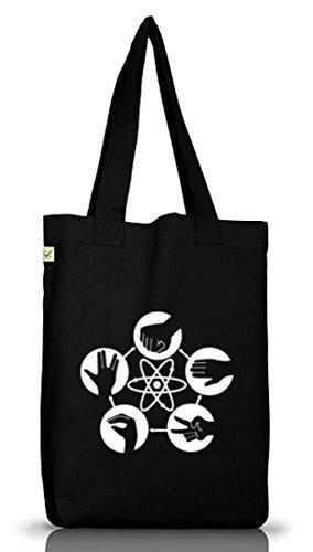 Shirtstreet24, Atom - Stein Schere Papier, Jutebeutel Stoff Tasche Earth Positive, Größe: onesize,Black