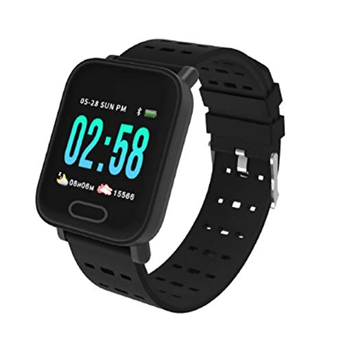 PAGHY 1.3 'pantalla a color inteligente reloj deportivo impermeable podómetro inteligente portátil, control paso calorías contador impermeable recordatorio smartwatch para hombres mujeres negro