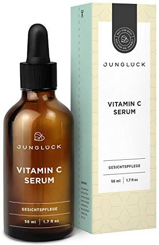 Junglück Vitamin C Serum auf bio Aloe Vera Basis | 50 ml in Braunglas | Feuchtigkeits-Booster für Gesicht & Haut - | Natürliche Kosmetik made in Germany