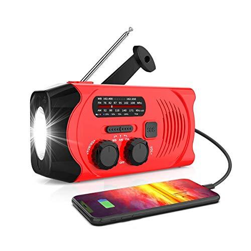 Radio meteorológica NOAA de emergencia, manivela portátil solar WB/AM/FM radio, con linterna LED, banco de energía de 2000 mAh y alarma SOS, cargador de teléfono móvil USB