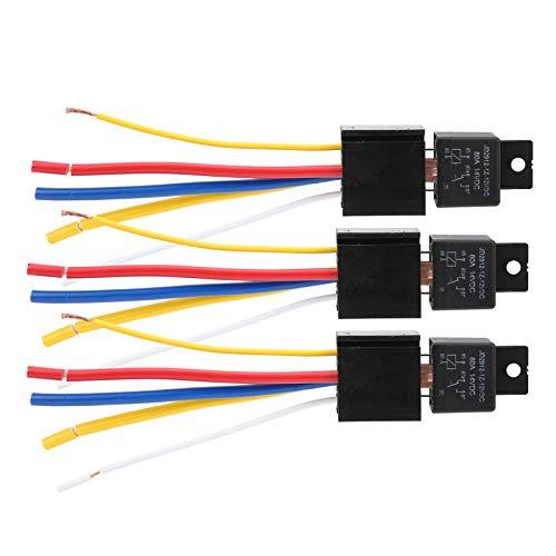 Relé de coche, relé de 3 uds LED 12V DC 1.8W 80A Relé de luz de señal de giro LED de 5 pines impermeable para electrónica automotriz
