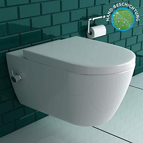 Antibakterielle Beschichtung Dusch WC mit einer integrierten Kalt- & Warmwasser Armatur | inkl. Quick-Release WC-Sitz mit Absenkautomatik | Warm & Kalt Intimdusche | inkl. Bidetschläuche & Montagset
