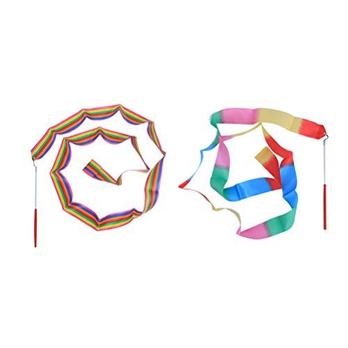 LIOOBO 2pcs 4m Gimnasia rítmica Cinta de Baile varitas de Cinta Gimnasia Bailarinas serpentinas (Colores y Llamas de Costura)