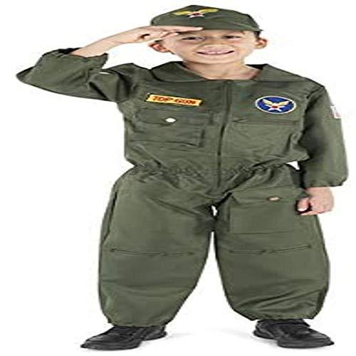 Dress Up America 487-M Kinder Air Force Pilot Kostüm, unisex-child, Mehrfarbig, Größe 8-10 Jahre (Taille: 76-82 Höhe: 114-127 cm)