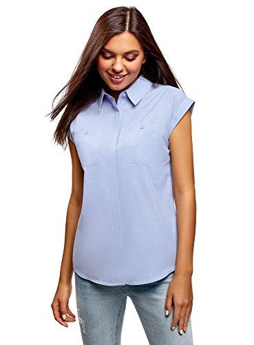 oodji Ultra Damska koszula bawełniana z kieszeniami na piersi