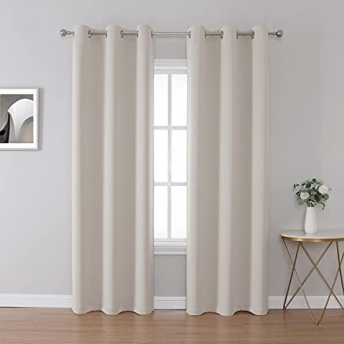 Flame Retardant Curtains Room Darkening for School Classroom Dorm Nursing Home Light Beige 42 x 84 2 Pieces
