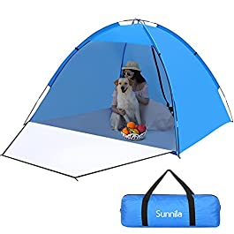 Sunnila Tente de Plage, Abri de Plage Anti UV UPF 50+ Portable pour 3-4 Personnes, Beach Tente Portative Extérieur avec…