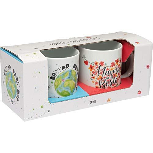 GRUSS & CO 46894 Set Mama ist Die Beste und Bester Papa Der Welt, 2 Tassen je 30 cl, Geschenkbox Juego de tazas, Porcelana