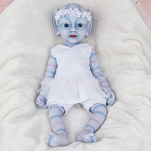 Vollence Elfo Bambola Bella addormentata Realistica da 46 cm, Senza PVC, Bambole con Silicone in Tutto Il Corpo, con Occhi Chiusi, Come Bambini Veri, Bambola realistica, Sembra Vera, Fatta a Mano