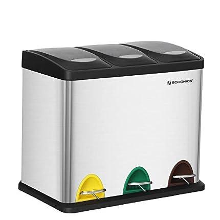 SONGMICS Cubo de Basura, Basurero con Pedal 3 en 1, 24 Litros, Sistema de Separación de Residuos para la Cocina, Duradero, Fácil de limpiar, Acero, Color Plata LTB24L