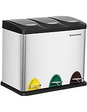SONGMICS Vuilnisemmer voor de keuken, 3-in-1 afvalemmer, 24 liter, afvalscheiding, pedaalemmer van metaal, afvalscheidingssysteem, robuust, eenvoudig te reinigen
