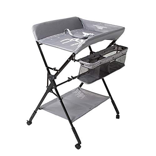 RH-ZTGY Wickeltisch, Multifunktions Wickeltische Baby-Kleidung Wechseln Windel Massage Pflegebett Faltbare Höhenverstellbarer Baby-Bett-Windel-Tabelle (Grau)