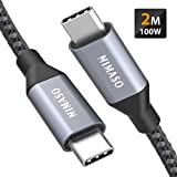 Nimaso USB C auf USB C Kabel 2M, USB Typ C 100W 20V/5A PD Schnellladekabel mit E-Mark Chip Ladekabel...