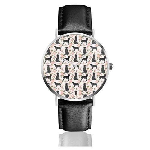 Reloj de cuero negro Lab Labrador Retriever Dog Pet Quilt D Floral Dog Raza Edredón Unisex Clásico Casual Moda Reloj de Cuarzo Reloj de Acero Inoxidable con Correa de Cuero