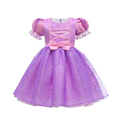 LOKKSI Rapunzel vestido enredado para nias, disfraz de princesa para nios, vestido de princesa para beb, vestido de fiesta, vestido para beb, vestido de Halloween, cumpleaos o cosplay