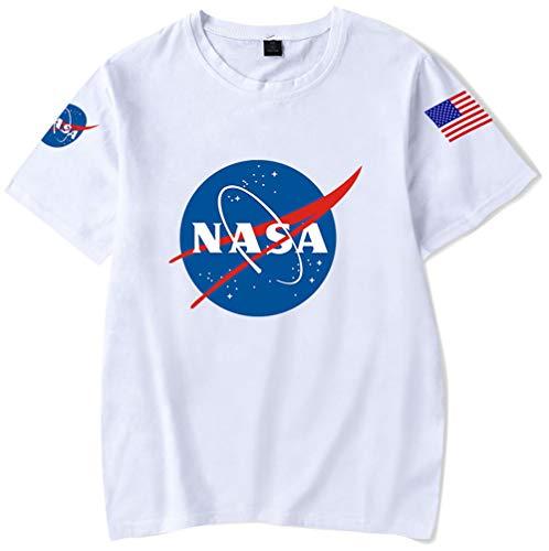 HAOSHENG Donna Maglietta NASA Stampato Galaxy Planet T-Shirt Unita con Fascia da Braccio Estate Manica Corta(M)