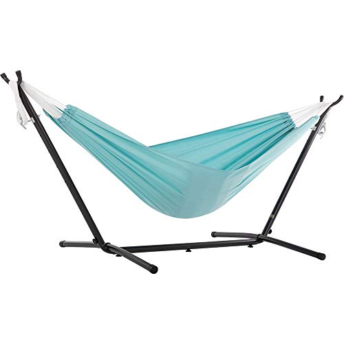 Vivere C9POLY-13 Double Polyester Hammock with Space Saving Steel Stand, Aqua (450 lb Capacity - Premium Carry Bag Included)