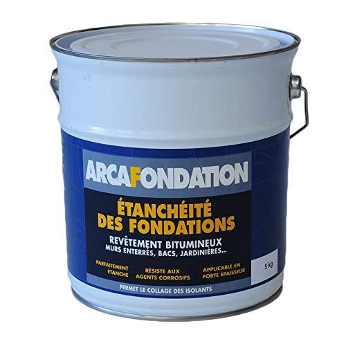 Enduit pour Fondations Murs enterrés bitumeux noir hydrofuge parpaing béton brique bois ARCAFONDATION - Noir - 5 Kg - ARCANE INDUSTRIES