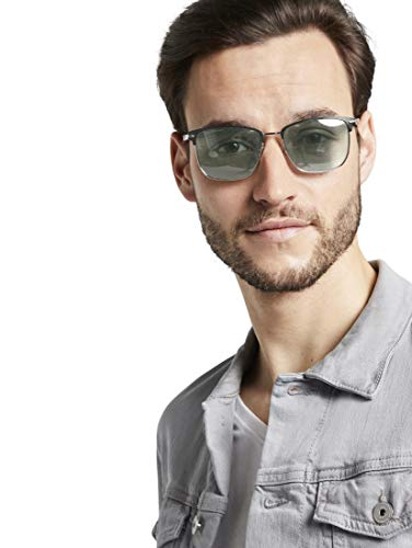TOM TAILOR Herren Eyewear Rechteckige Sonnenbrille mit Metallriemen black-silver,OneSize,e170,2999
