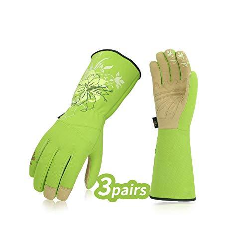 Vgo, 3 paia, guanti da giardino e guanti da lavoro donna, guanti da giardinaggio extra lunghi, palmo in pelle sintetica (8/M, Verde, SL7445)