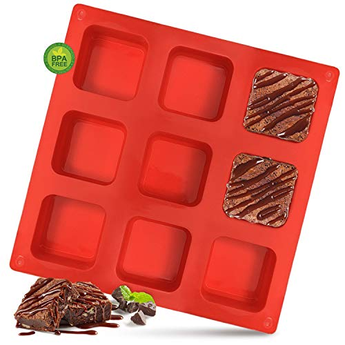 Walfos Silicone Brownie Pan  9Cavity Nonstick Square Baking Pan Perfect for Brownies Cornbread Muffin and Cakes BPA Free and Dishwasher Safe