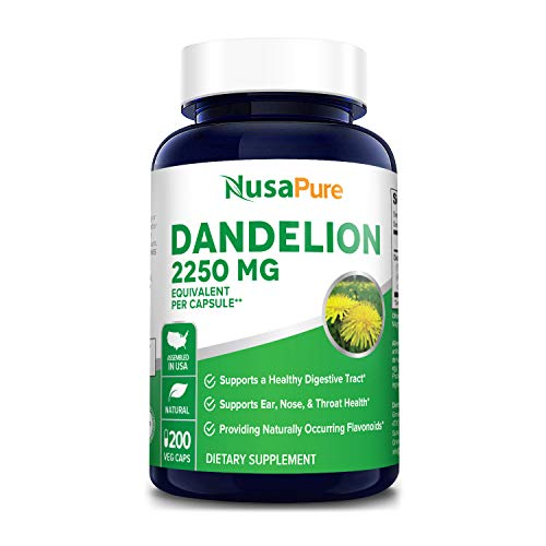 Dandelion Extract 2250mg 200 Veggie Capsules (Non-GMO, Extract 5:1 & Gluten Free) Taraxacum Officinale - Supports Kidney Health, Liver & Whole Body*