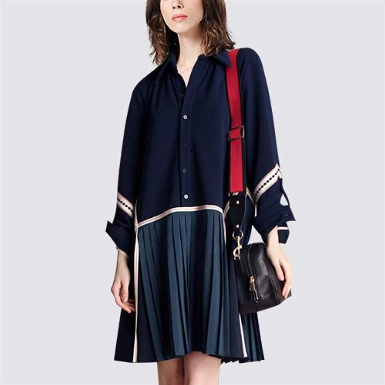 UOYJN Woman Dress Spring And Summer Women'S Shirt Dress Long Paragraph Loose Slim Pleated Skirt