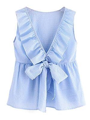 Milumia Women's Deep V Neck Sleeveless Bowknot Plaid Blouse Shell Top