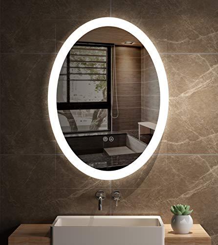 JORYOO 22 x 28 Inch Oval Frameless LED Bathroom Wall Mounted Vantity -