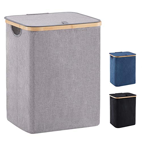 YOUDENOVA 66L Bamboo Laundry Hamper Basket with Lid and Handle Waterproof and Collapsible Cloth Hamper for Closet and Bathroom Grey157quotL 13quotW 197quotH
