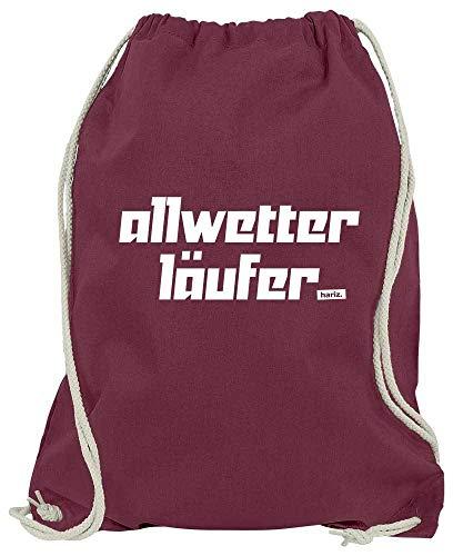 HARIZ Turnbeutel Allwetter Läufer - Logo Laufen Walking Plus Geschenkkarte Wein Rot One Size