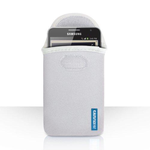 Caseflex Kompatibel Für Samsung Galaxy Note 2 Tasche Weiß Neopren Beutel Hülle Logo