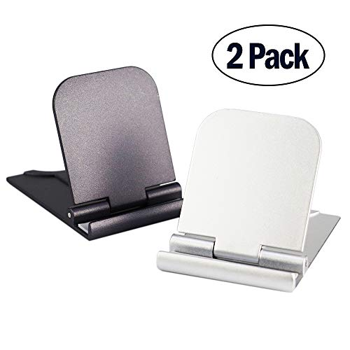 Cell Phone Stand, 2Pack Cellphone Holder for Desk Lightweight Portable Foldable Tablet Stands Desktop Dock Cradle for iPhone Android Smartphone iPad Office Supplies Accessories Gray Silver