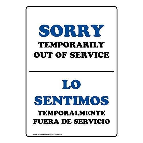 Wendana Sorry tijdelijk buiten dienst Engels + Spaans teken, Grappige Tin Metalen waarschuwingsborden voor onroerend goed, Aluminium, Poortteken, Hek Teken buiten, 8