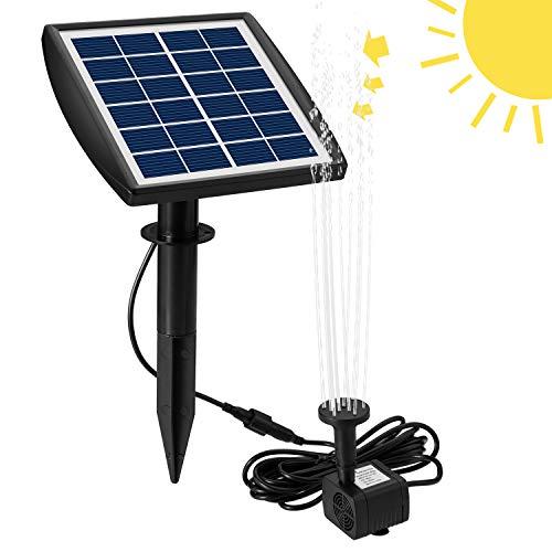 Decdeal Wasserpumpe Springbrunnenpumpe Solarpumpe 200L / h 6V / 2W mit Solarpanel 4 Düseneinstellbarem für Aquarium Kleiner Teich Garten