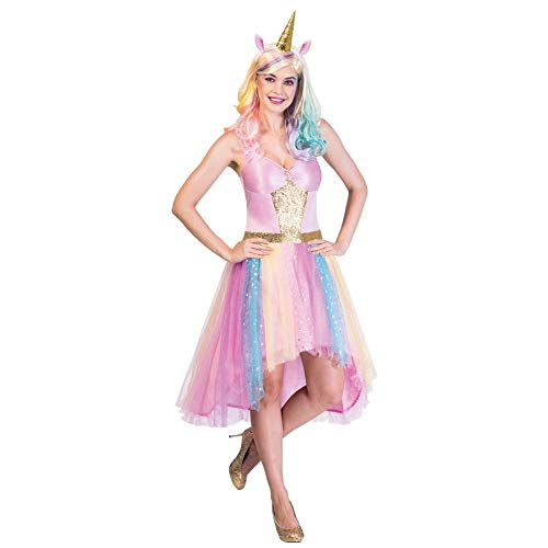 Adults Rainbow Unicorn Costume with Dress and Headband in 3 Sizes