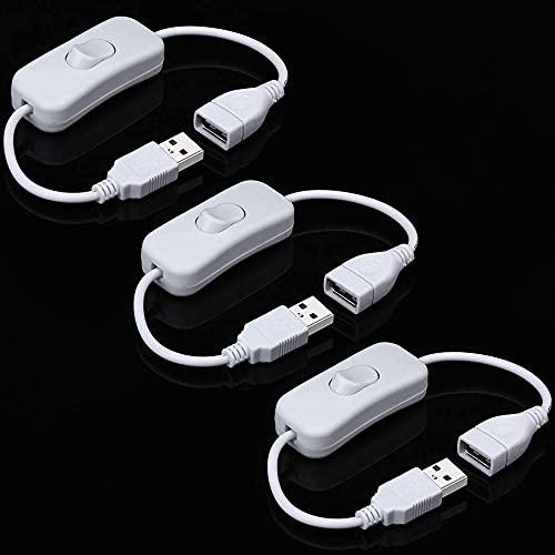 Greluma 3 Piezas cable USB macho a hembra con interruptor de encendido/apagado, interruptor basculante en línea de extensión USB para lámpara de escritorio LED, ventilador USB, tiras de LED