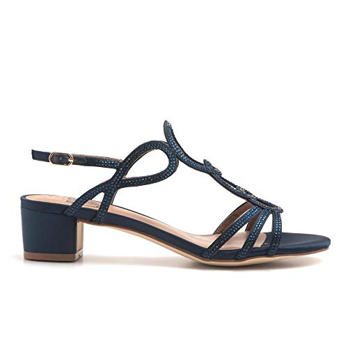 Bibi Lou sandalen, blauw, met strass-steentjes en middelhoge hak, 787Z 85VK Marin, maat