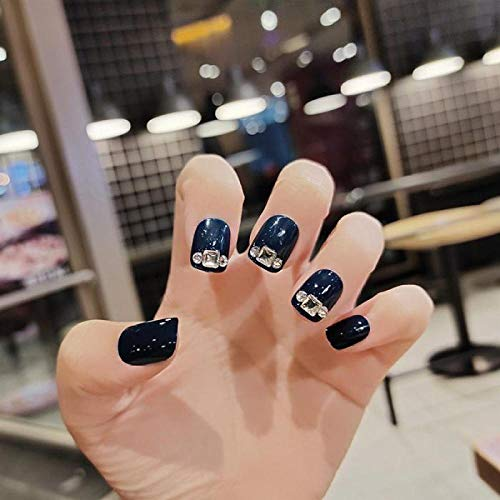 TJJL Faux ongles 24 Pcs/Boîte Avec Flash Diamant Brume Bleu Haute Brillance Main Blanc Court Manucure Faux Ongles Patch Produits Finis Appuyez Sur Les Ongles