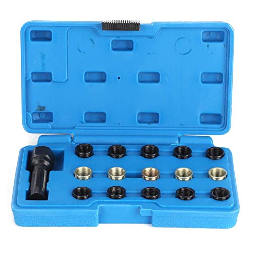 GTFHUH Kit de reparación de roscas de bujías, 16 Piezas/Juego Kit de reparación de roscas de bujías Herramienta de enhebrado de grifos M14 x 1,25 mm