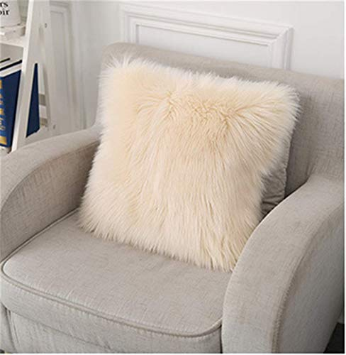 XinlanStyles - Funda de almohada cuadrada suave y esponjosa de piel sintética para salón, sofá, dormitorio, coche, lana, beige, 50 x 50 cm