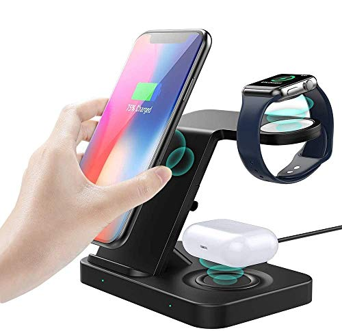 MoKo 3 in 1 Wireless Charger Stand, 10W Qi Fast Charging Dock Station Compatible Galaxy Watch 3 41mm/45mm/42mm/46mm/Active 2/1/Buds/S20, iPhone 12/12 Pro/11/SE/Apple Watch SE/6/5/4/3/2/Airpods Pro/2