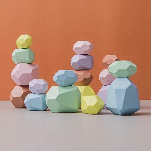 Promise Babe Juguetes apilables de madera, piedras de equilibrio, bloques de construcción de madera Waldorf, piedra de apilamiento de madera arcoíris, juguetes de madera Montessori (Set Five)