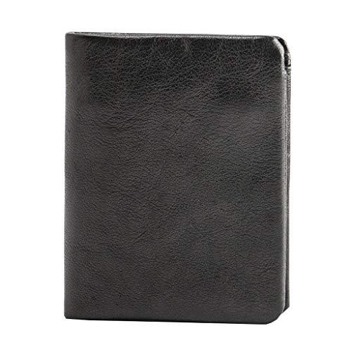 GDSSX Cartera Delgada para Hombres, bifurcadores Delgados de Cuero Genuino Minimalista, Elegante Bolsillo para Hombre de Bolsillo. Minimalista (Color : Black)