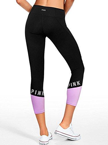Victoria's Secret PINK NEW Ultimate Moto Ankle Legging Pure Black/ Purple Petal(Large)