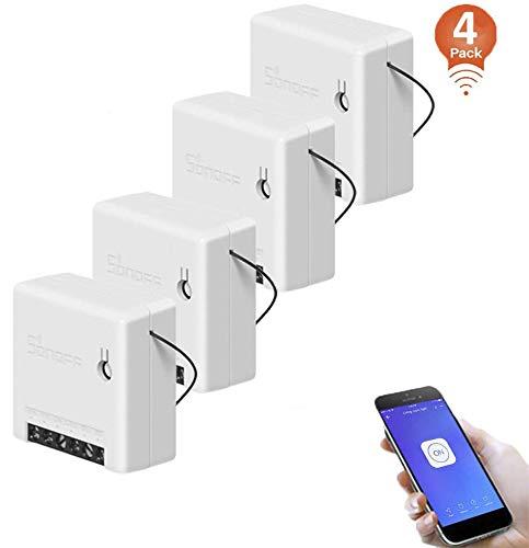 4Pack, SONOFF MINI 10A Interruptor Inalámbrico Wi-Fi Inteligente, Mó