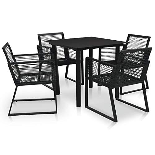 vidaXL Mesas y Sillas de Comedor 5 Piezas Puro Color Sencilla Conjunto Mueble al Aire Libre Jardín Patio Salón Café Merienda Ratán PVC Negro