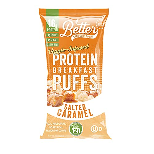 BETTER THAN GOOD Keto Protein Puffs | 16g Protein, 2 Servings of Fruits & Veggies | Paleo, Low Sugar, Low Calories, Gluten Free, Diabetic Friendly Keto Snacks (Salted Caramel)